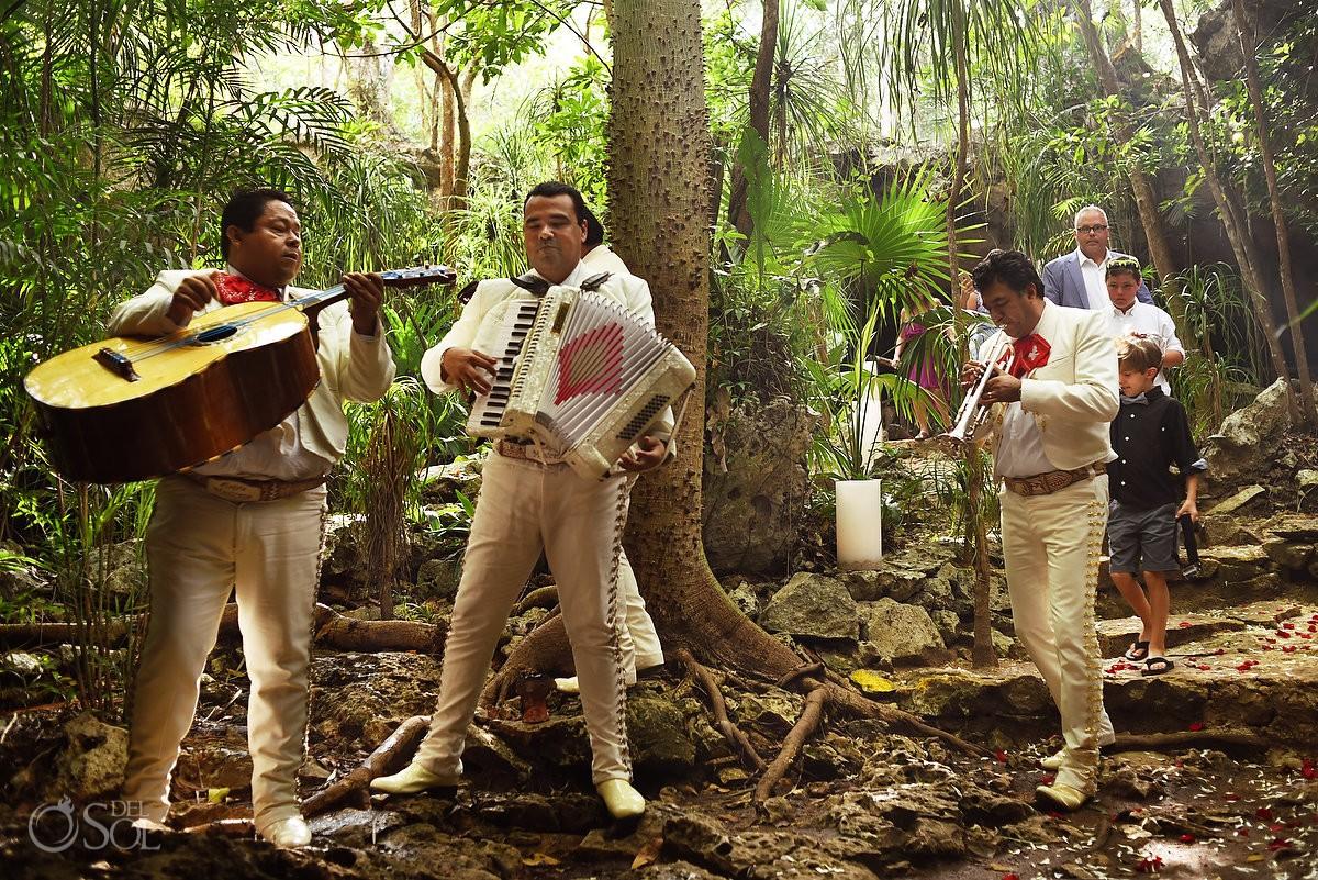 mariachi groom entering wedding ceremony cenote Chikin Ha
