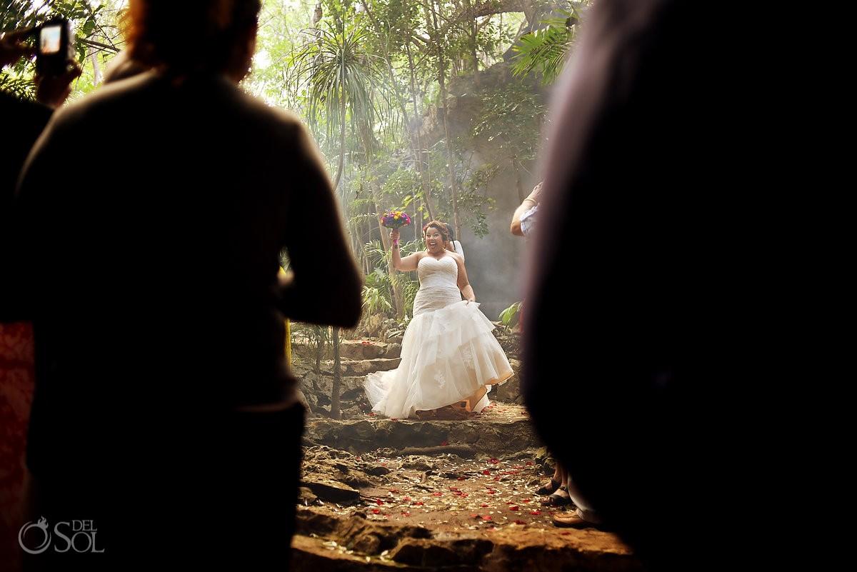 bride entering wedding ceremony cenote Chikin Ha