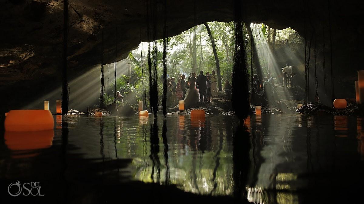amazing light wedding ceremony cenote Chikin Ha