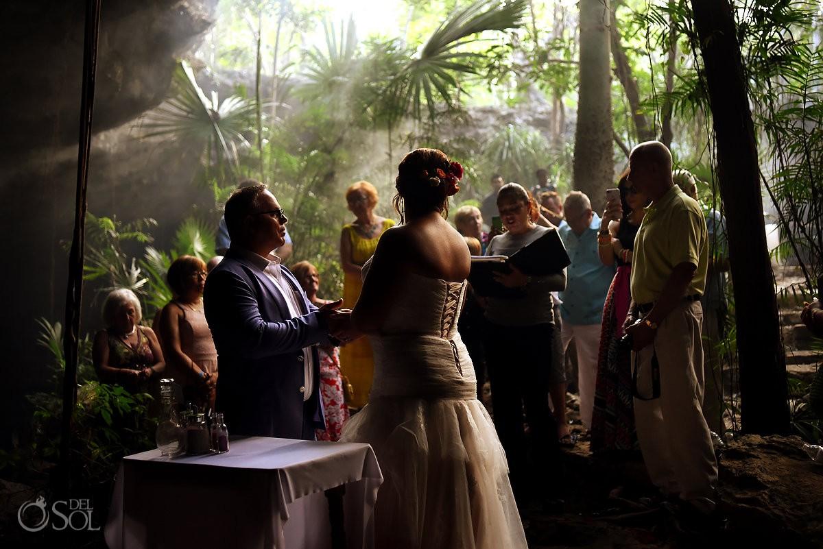 incredible moody light, jungle cenote wedding, Chikin Ha Cenote, Riviera Maya, Mexico