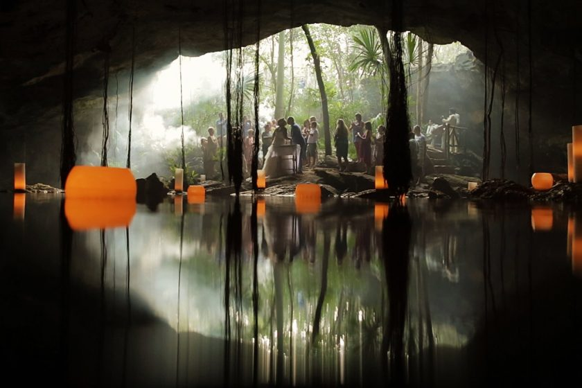 amazing wedding location cenote Mexico first kiss floating candles