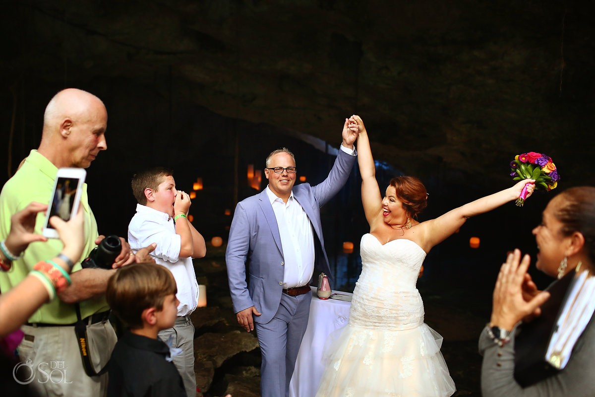 bride celebration cenote cave wedding, Chikin Ha Cenote, Riviera Maya, Mexico