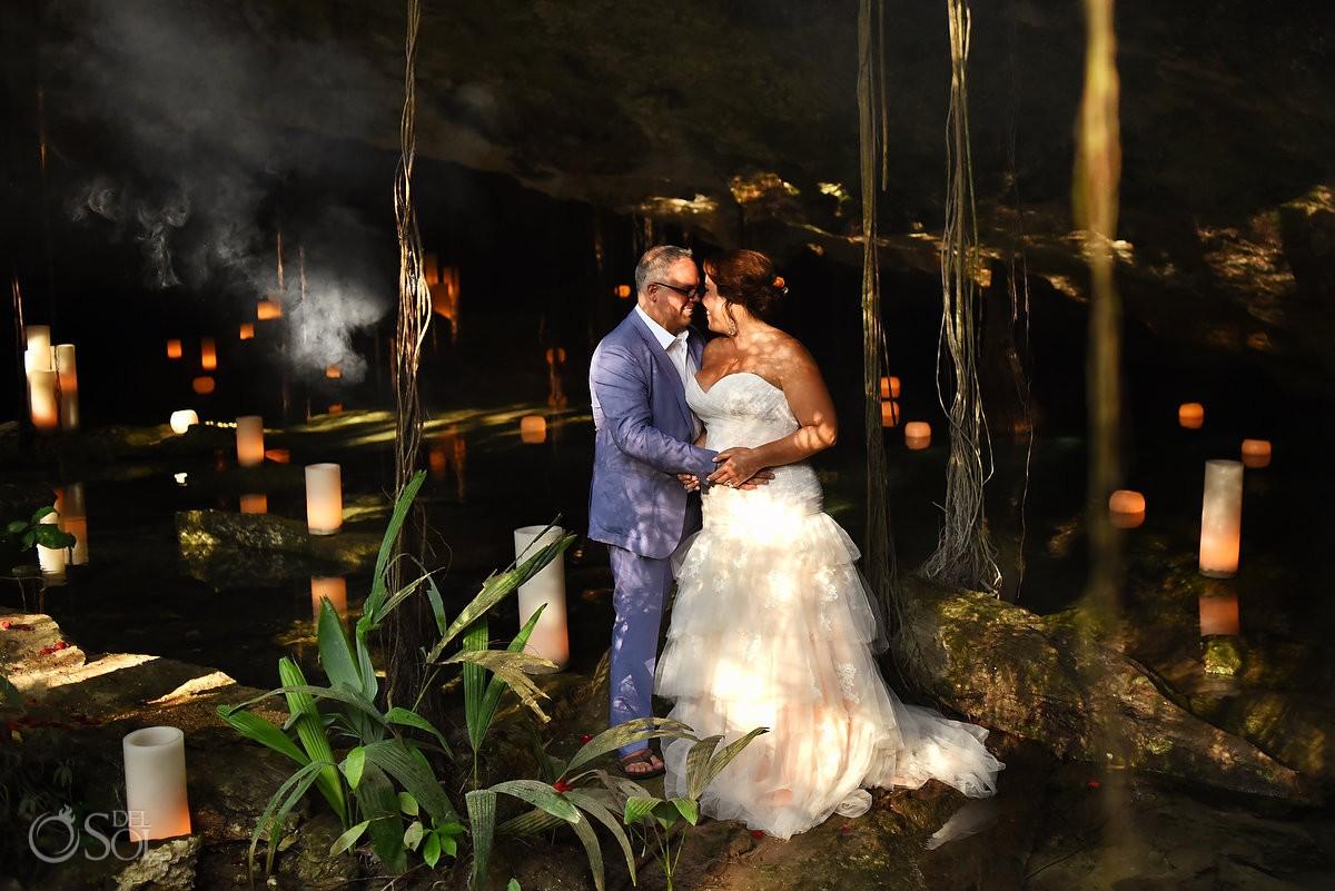 cenote cave wedding portrait cenote, beautiful candles, Arte velas, Chikin Ha Riviera Maya