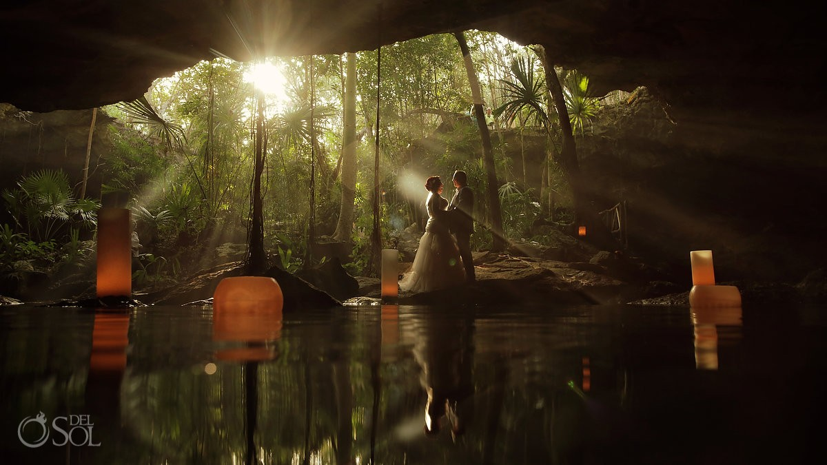 Cenote weddings riviera maya Artistic portrait sunset jungle cave Mexico