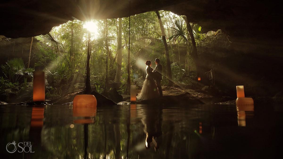 Artistic wedding portrait sunset light jungle cave cenote wedding ceremonies by del sol photography