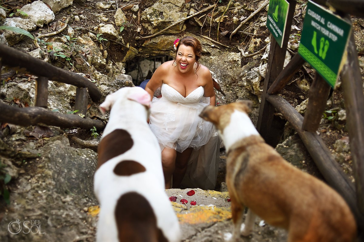 Cenote wedding Chikin Ha dogs
