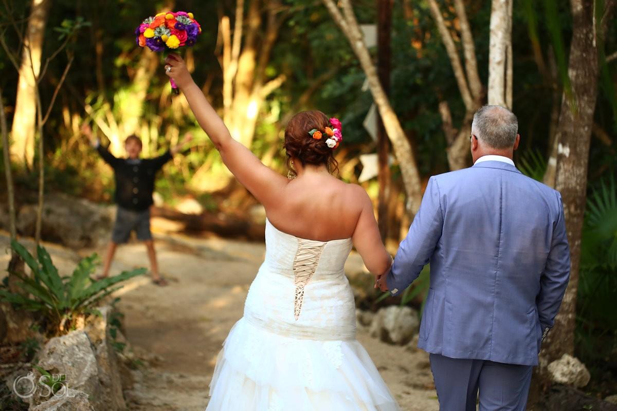 Bride celebration walking jungle cenote Chikin Ha Wedding Riviera Maya
