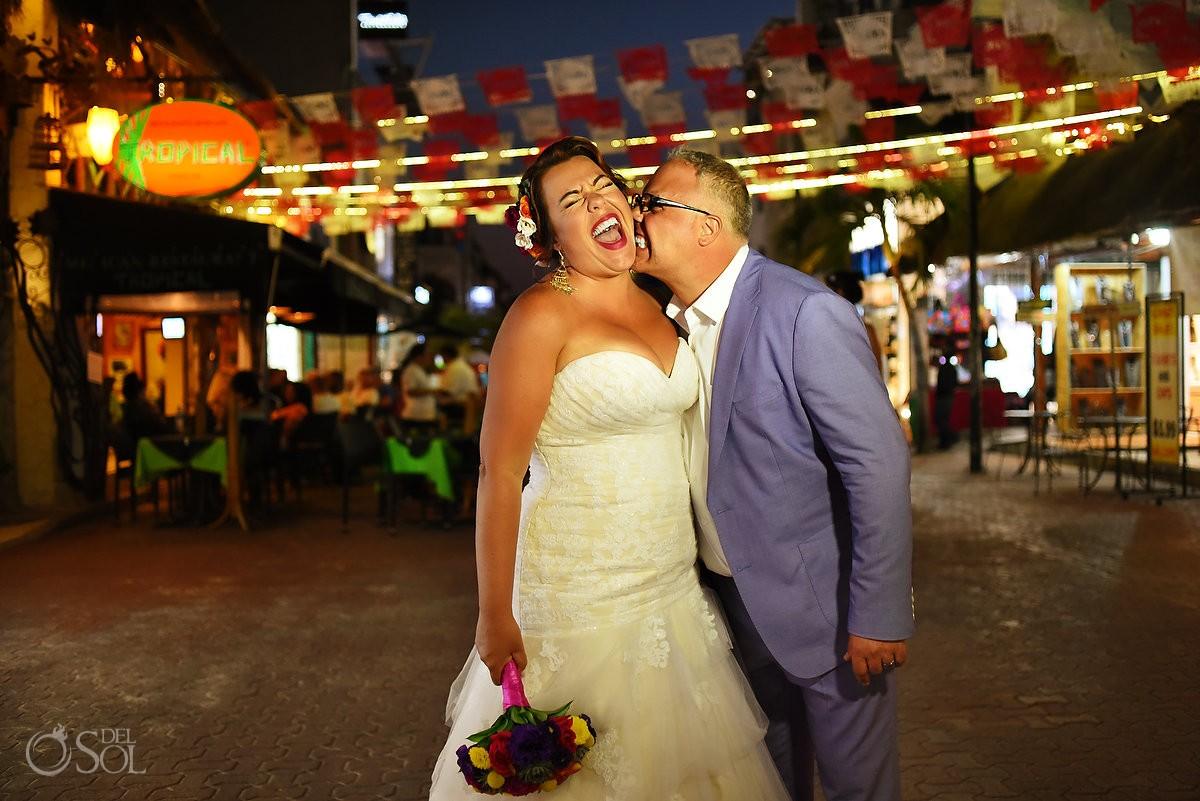 fun wedding portrait Playa del Carmen fifth avenue mexican decor papel picado