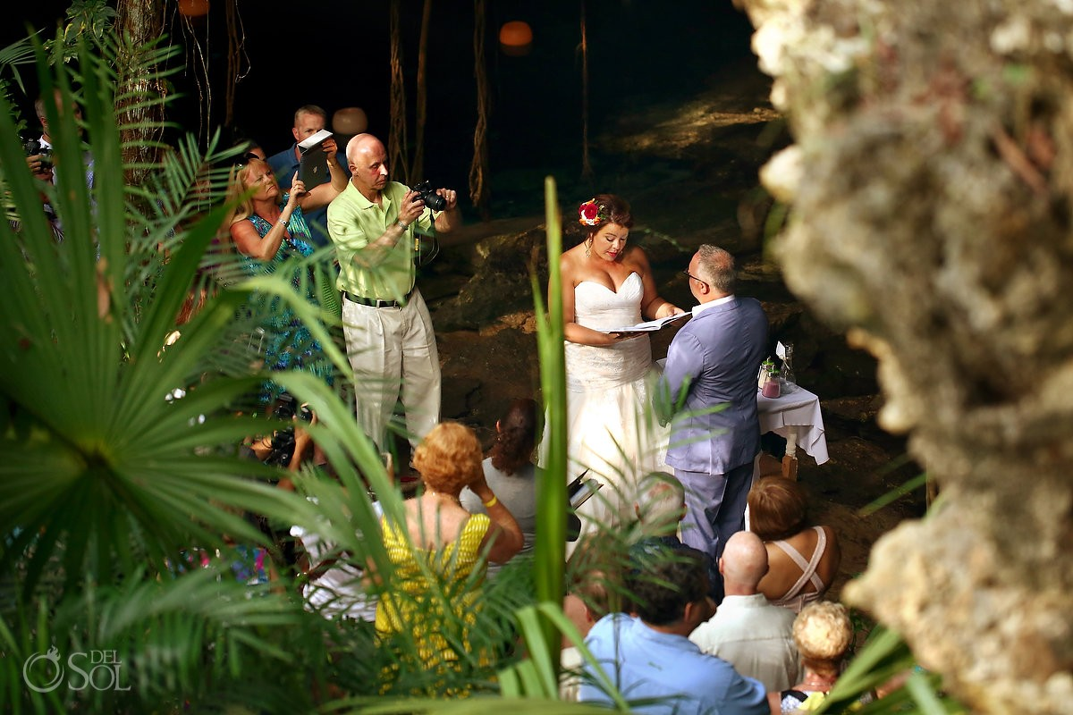 areal view bride reading vows, Cenote cave wedding Chikin Ha Riviera Maya, Mexico