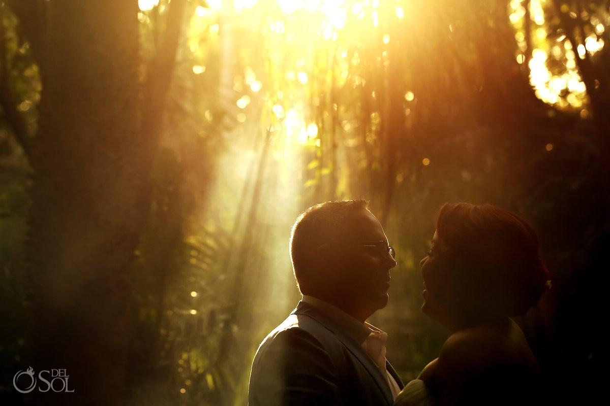 artistic wedding portrait, Amazing light rays smoke, jungle cenote wedding, Chikin Ha Cenote, Riviera Maya, Mexico