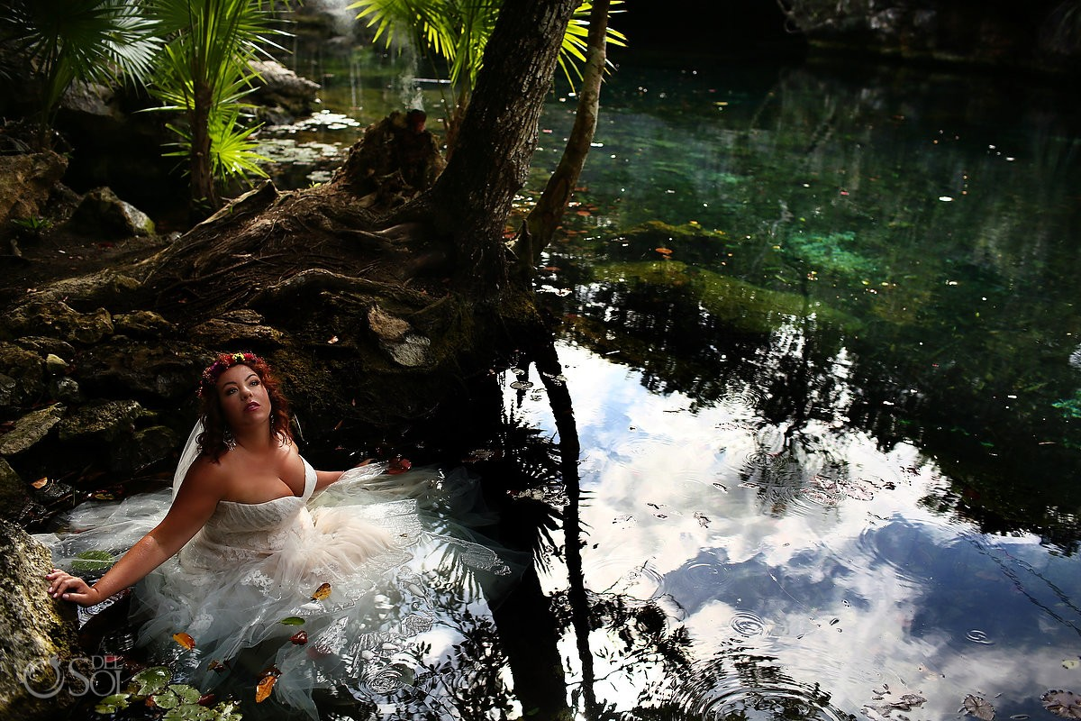 Bride portrait water cenote trash the dress, Tulum Mexico