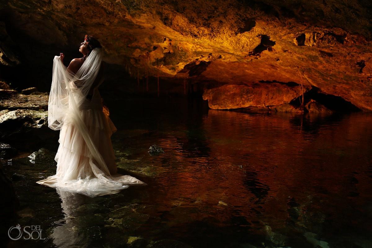 bridal portrait, beautiful light cenote cave trash the dress