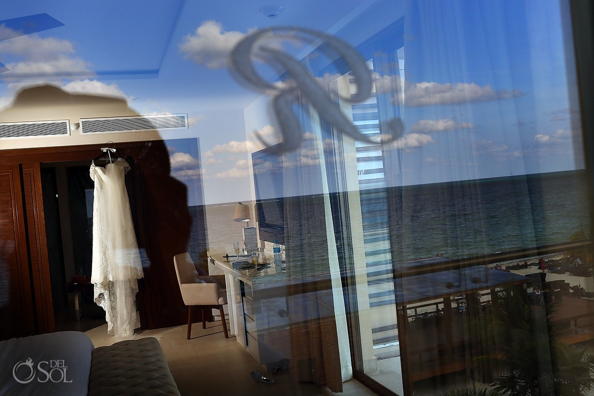 artistic wedding dress reflection, getting ready Wedding Hotel Royalton Riviera Cancun, Mexico
