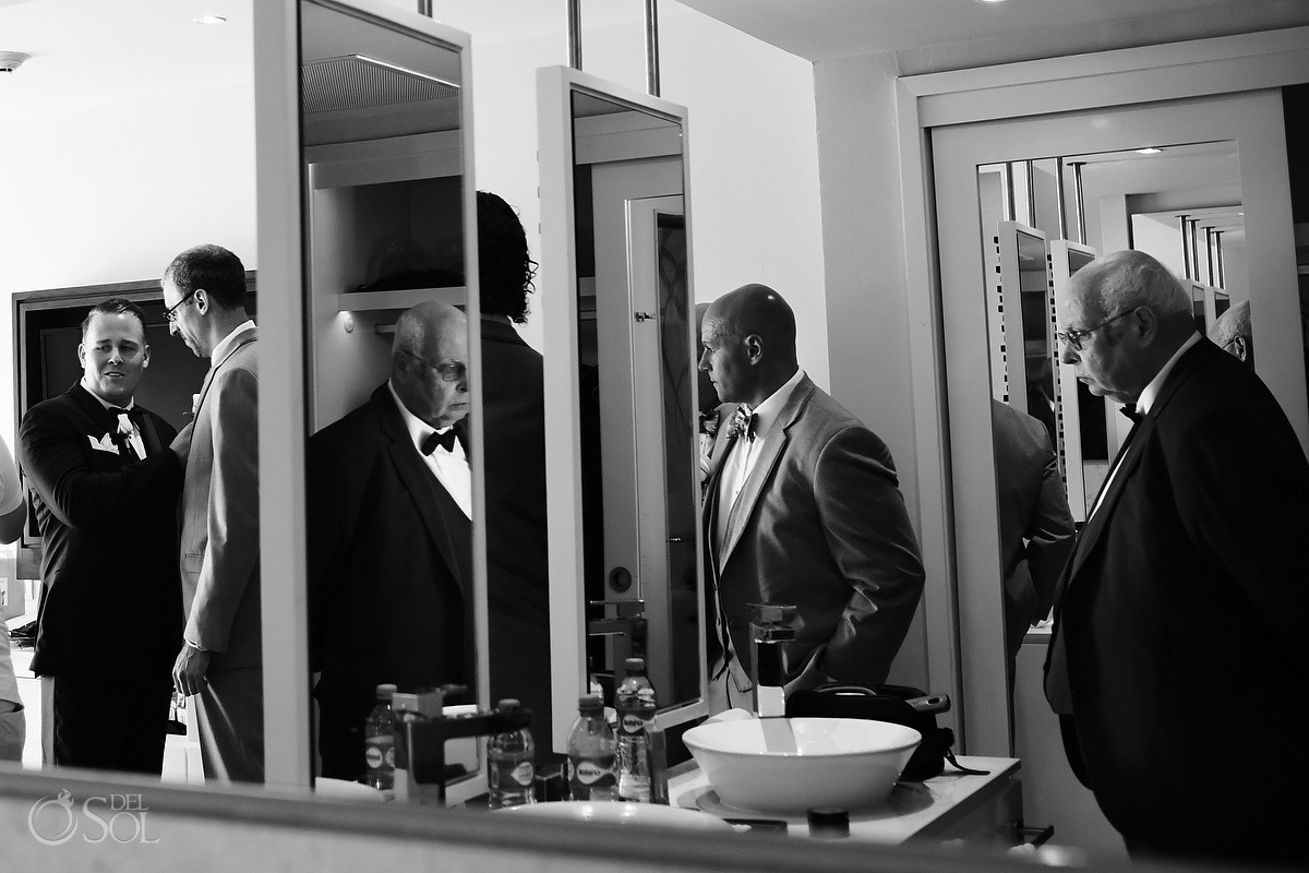 creative wedding photography groom getting ready black white, Wedding Hotel Royalton Riviera Cancun, Mexico
