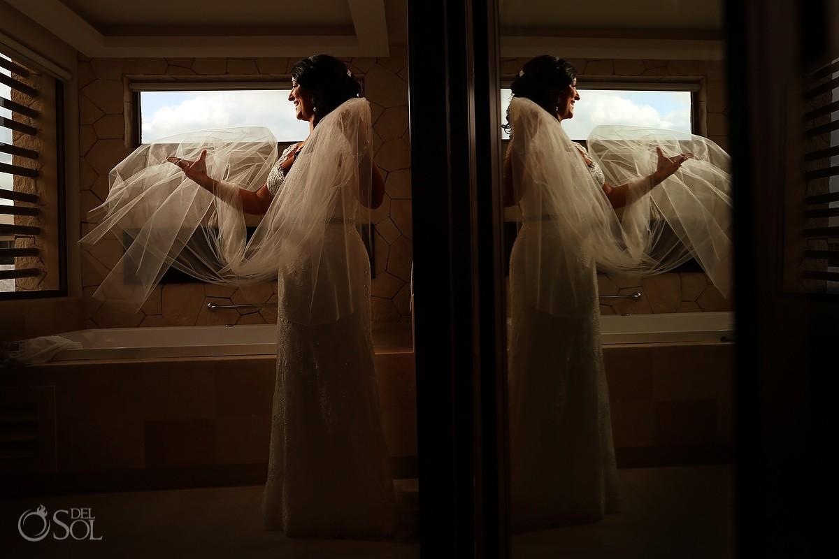 bride portrait Wedding Hotel Royalton Riviera Cancun, Mexico