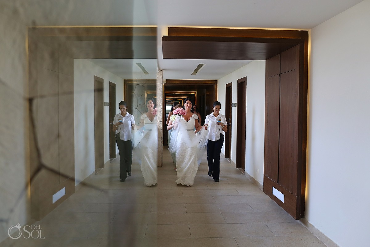 bride walking Wedding Hotel Royalton Riviera Cancun, Mexico