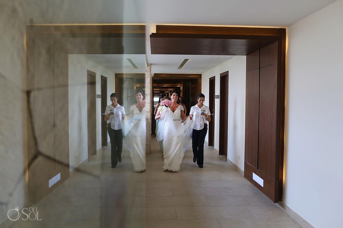 bride walking Wedding Hotel Royalton Riviera Cancun, Mexico