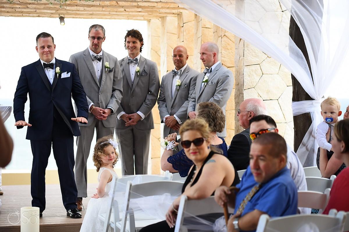 nervous groom waiting Royalton Riviera Cancun Sky Wedding Terrace