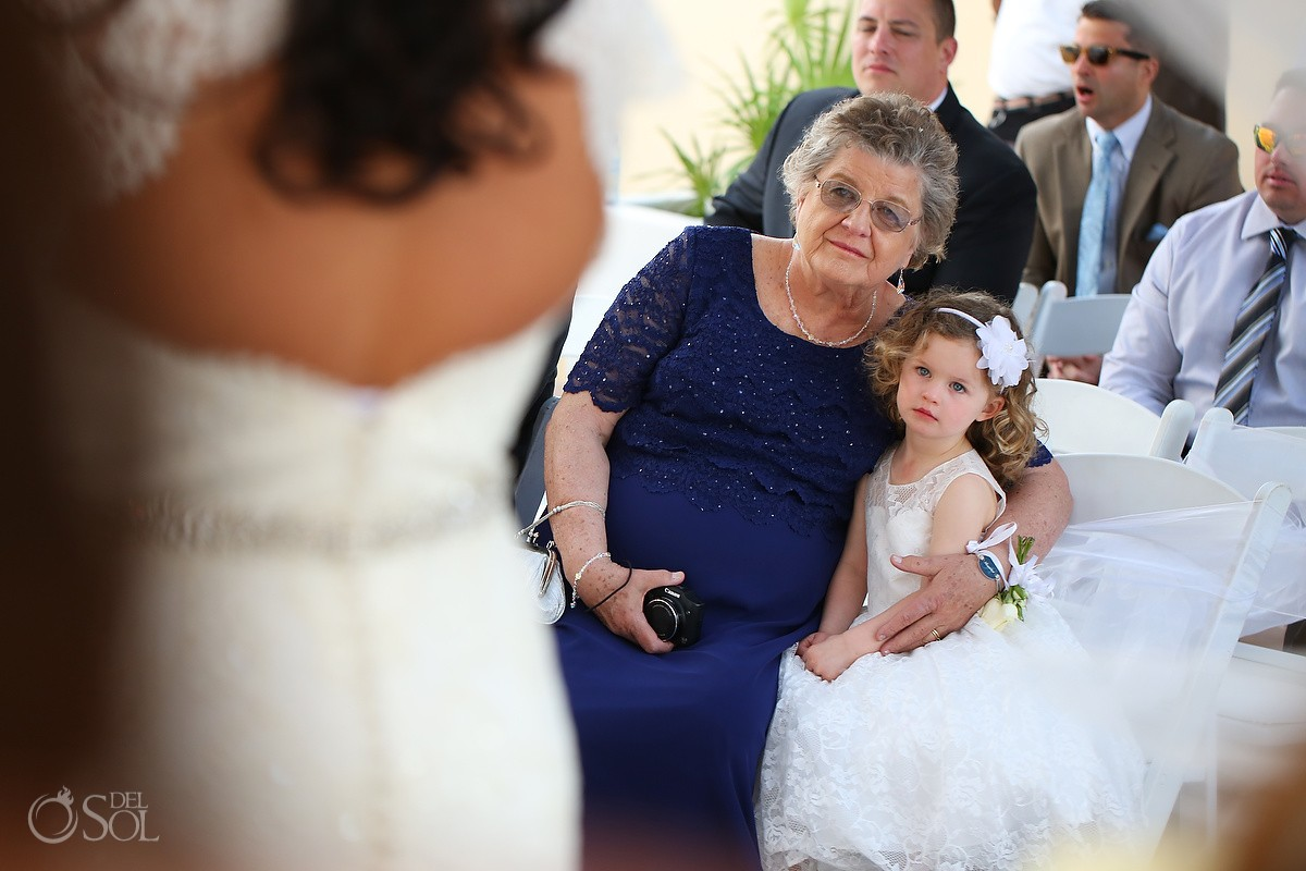 flower girl grandma guests family love Royalton Riviera Cancun Sky Wedding Terrace