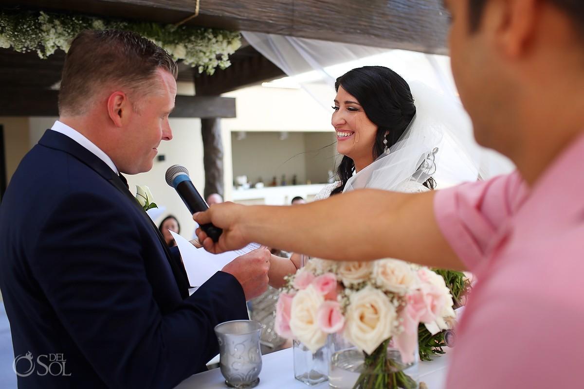 emotional bride crying Royalton Riviera Cancun Sky Wedding Terrace