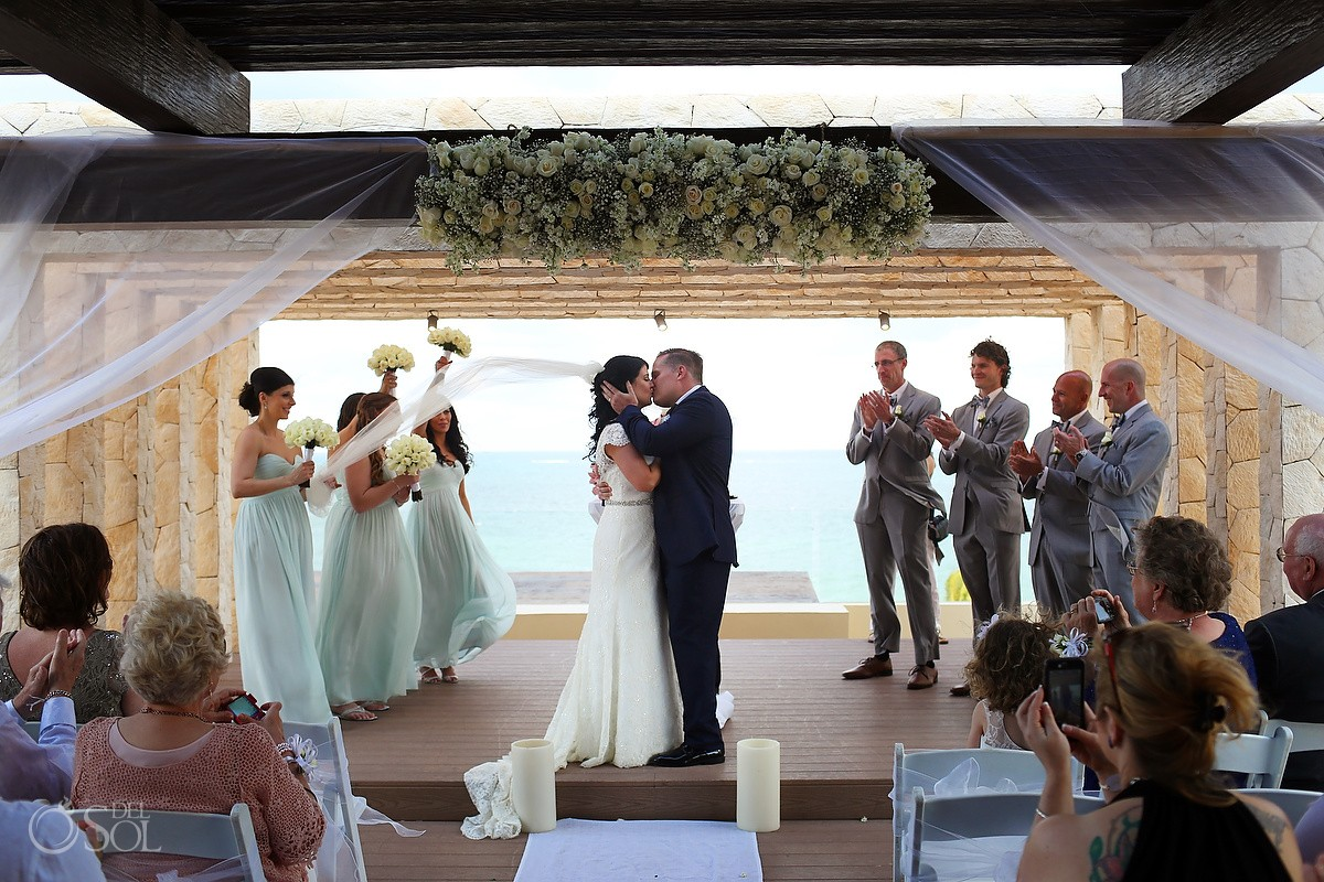 first kiss Royalton Riviera Cancun Sky Wedding Terrace
