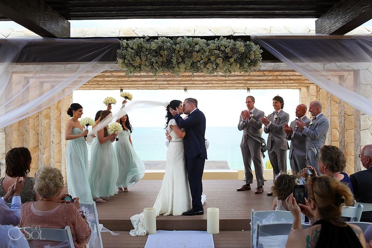 first kiss Royalton Riviera Cancun Sky Wedding Terrace