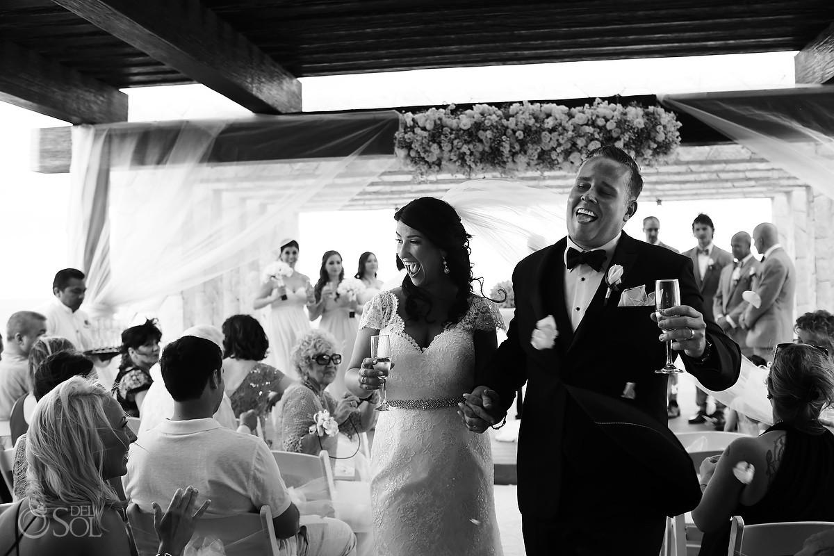 ceremony exit black white Royalton Riviera Cancun Sky Wedding Terrace