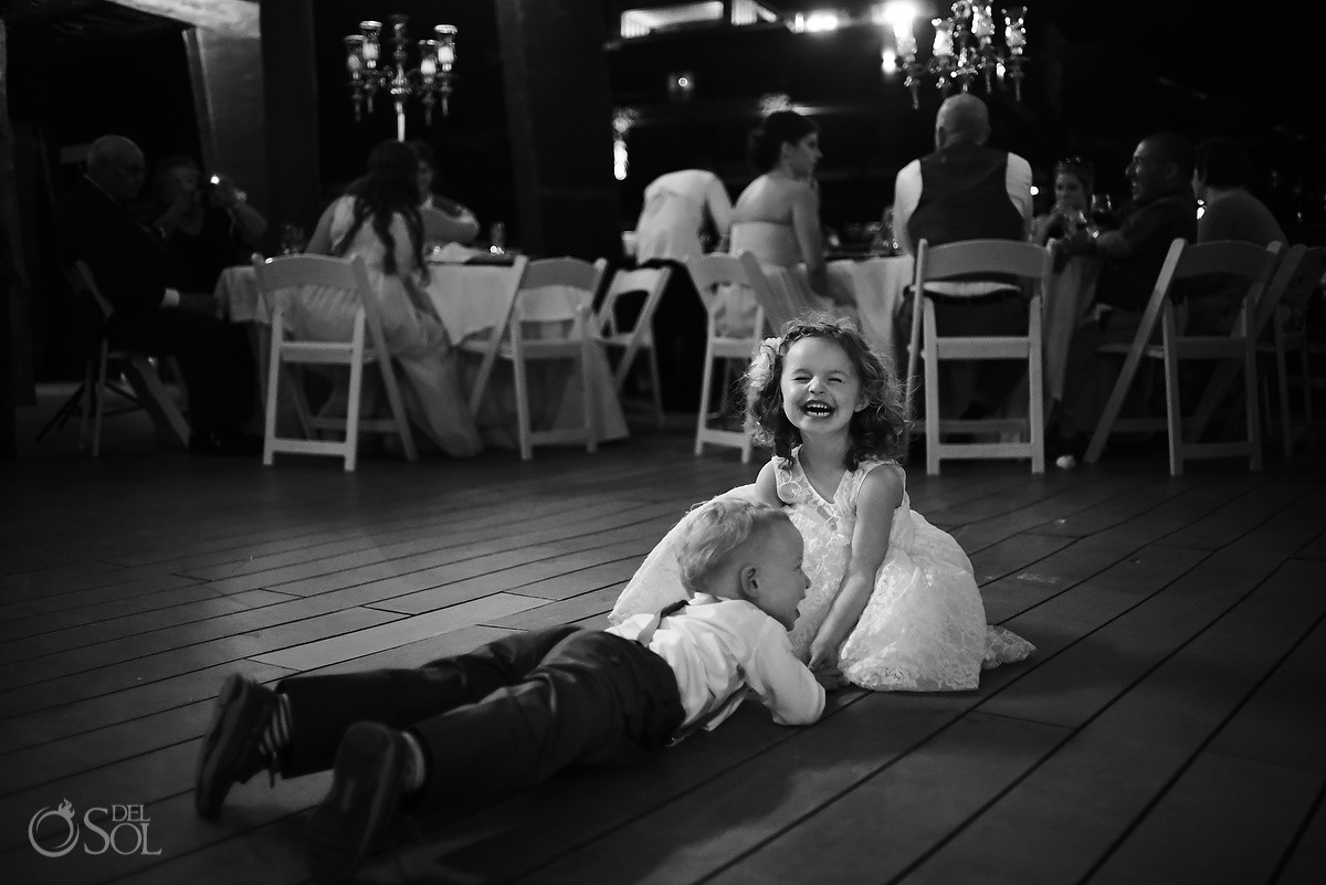 cute kids black white wedding reception Royalton Riviera Maya Nautica Beach Bar