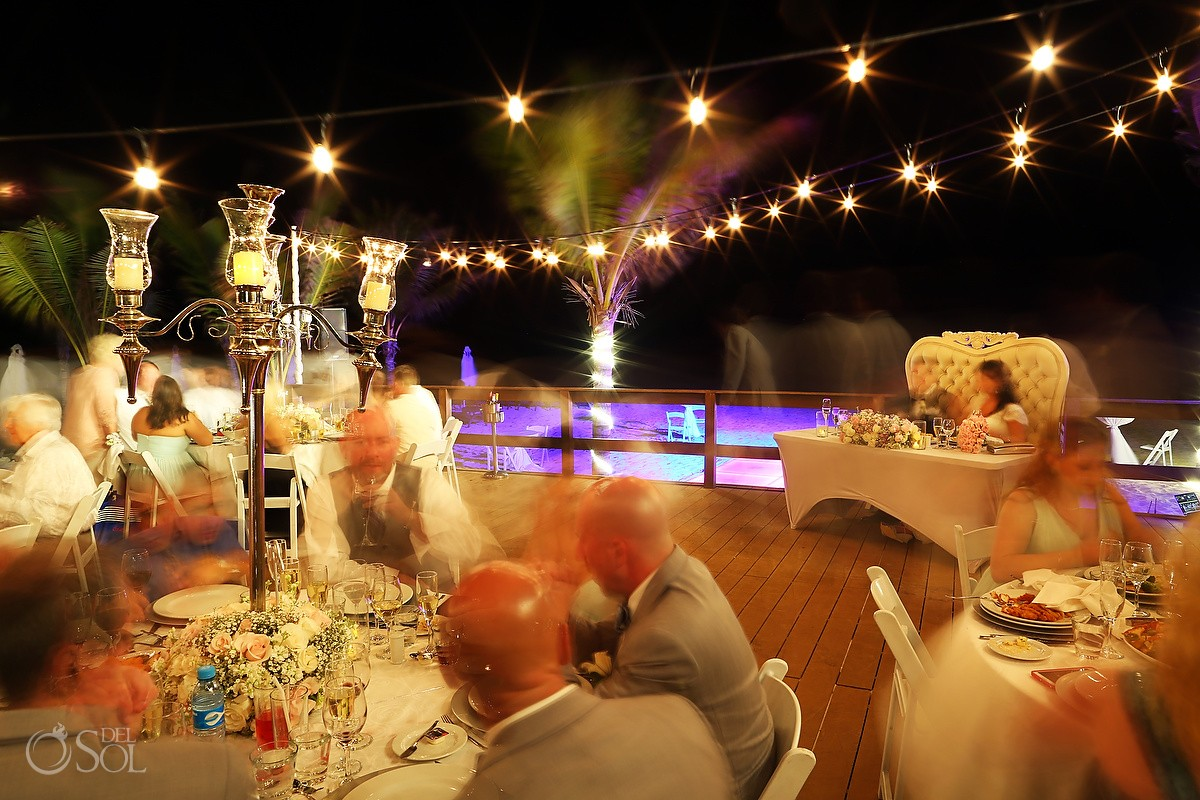 scene setter long exposure wedding reception Royalton Riviera Maya Nautica Beach Bar