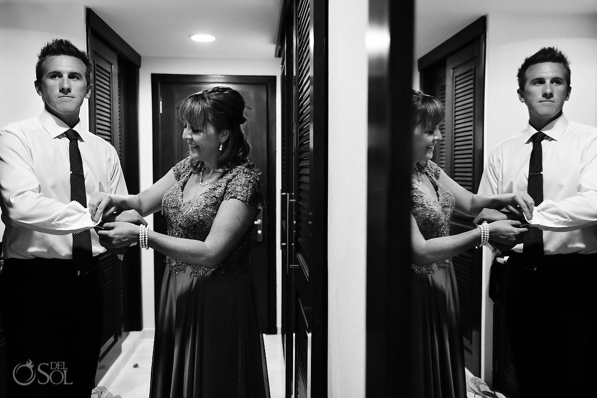 groom getting ready mother reflection, Destination Wedding Barceló Maya Palace