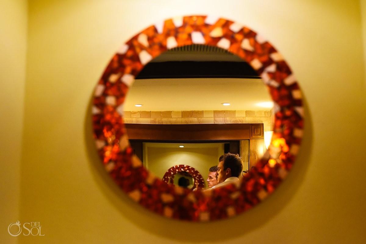 creative groom getting ready portrait reflection mirror Destination Wedding Barceló Maya Palace