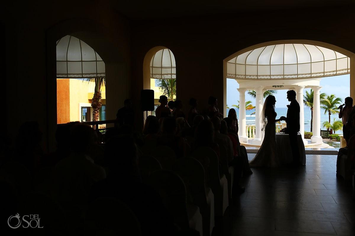 artistic silhouette indoor Rain gazebo Destination Wedding Barceló Maya Palace
