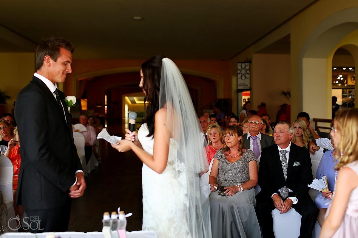 bride reading vows indoor Rain gazebo Destination Wedding Barceló Maya Palace
