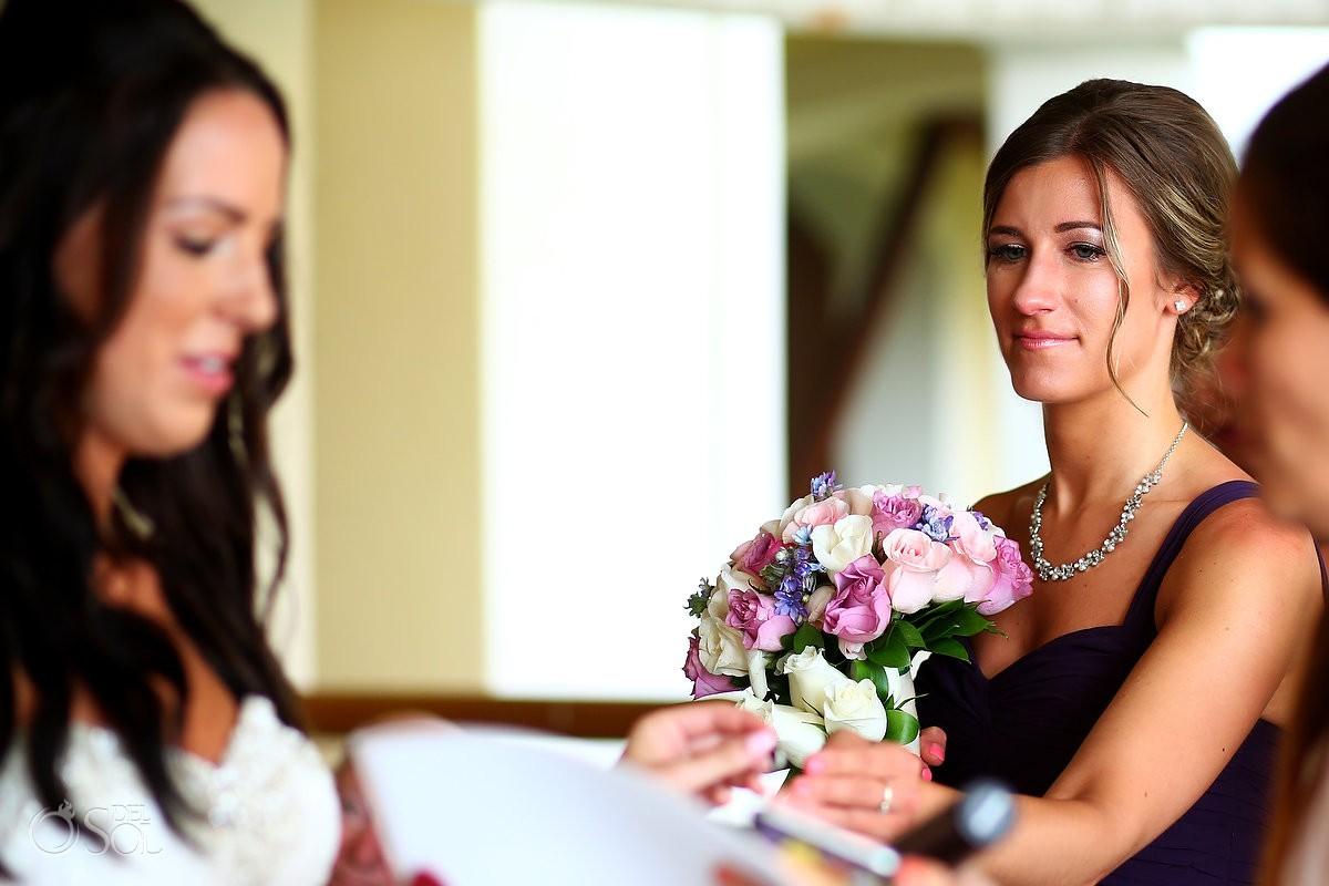 emotional bridesmaid crying indoor Rain gazebo Destination Wedding Barceló Maya Palace