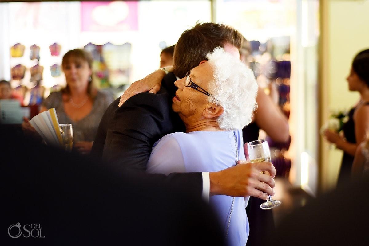 Family love hugs grandma, Destination Wedding at Barceló Maya Palace, Riviera Maya, Mexico