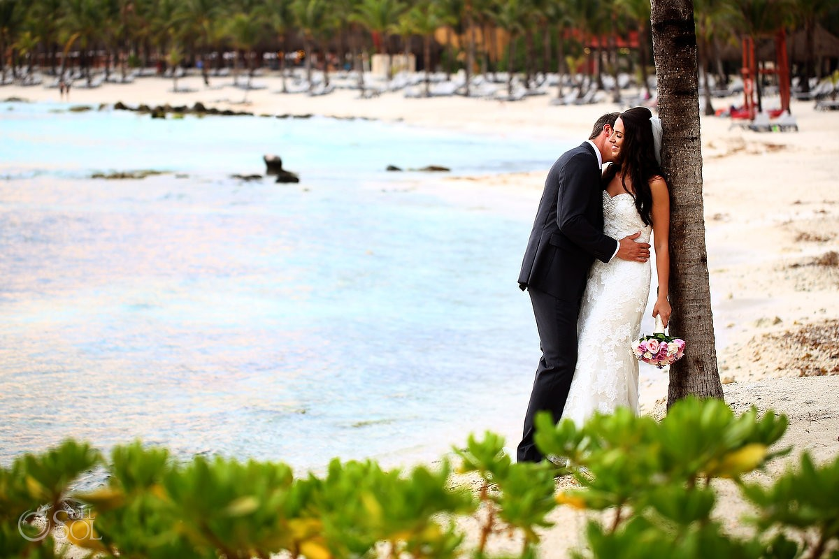 Destination Wedding beach portrait Barcelo Maya Palace Deluxe