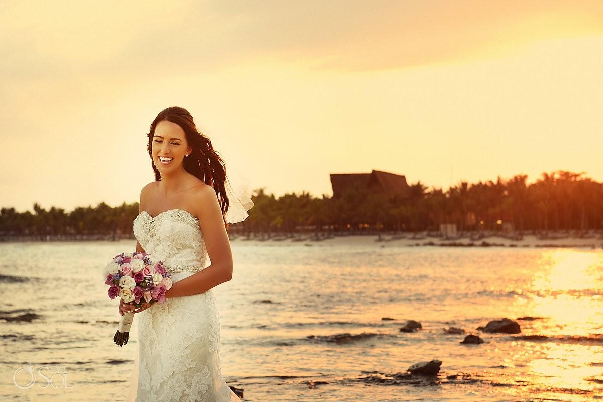 Romantic vintage look sunset bridal bride portrait after rain, Destination Wedding Barcelo Maya Palace Deluxe