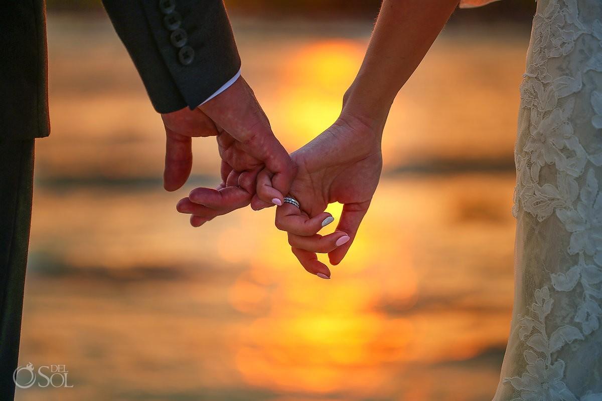 Pinky swear sweet cute detination wedding portrait detail, Dramatic sunset after rain Barcelo Maya Palace Deluxe beach