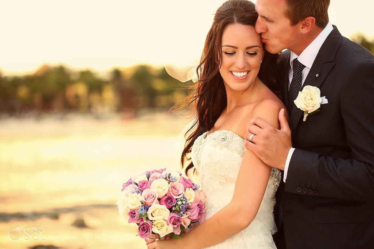 Romantic sunset after rain, beach Destination Wedding portrait Barcelo Maya Palace Deluxe