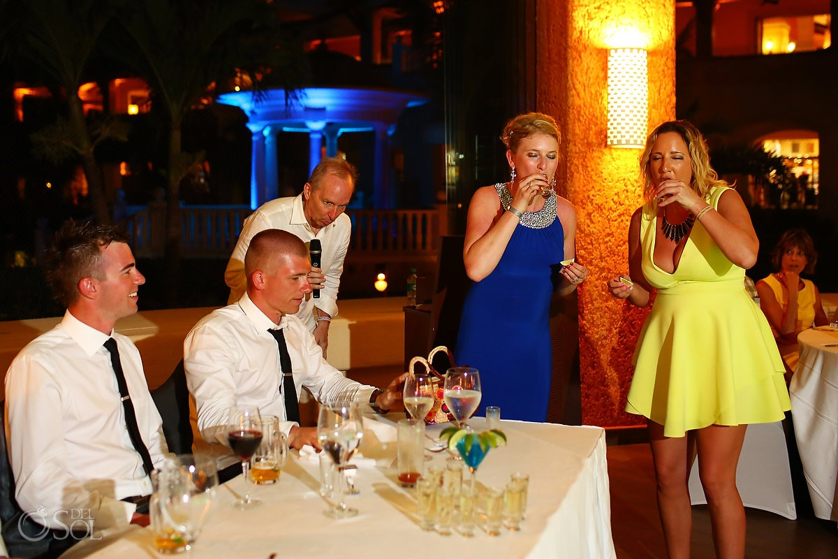 tequila shots fun Destination Wedding reception Barcelo Maya Palace Deluxe Goral Grill