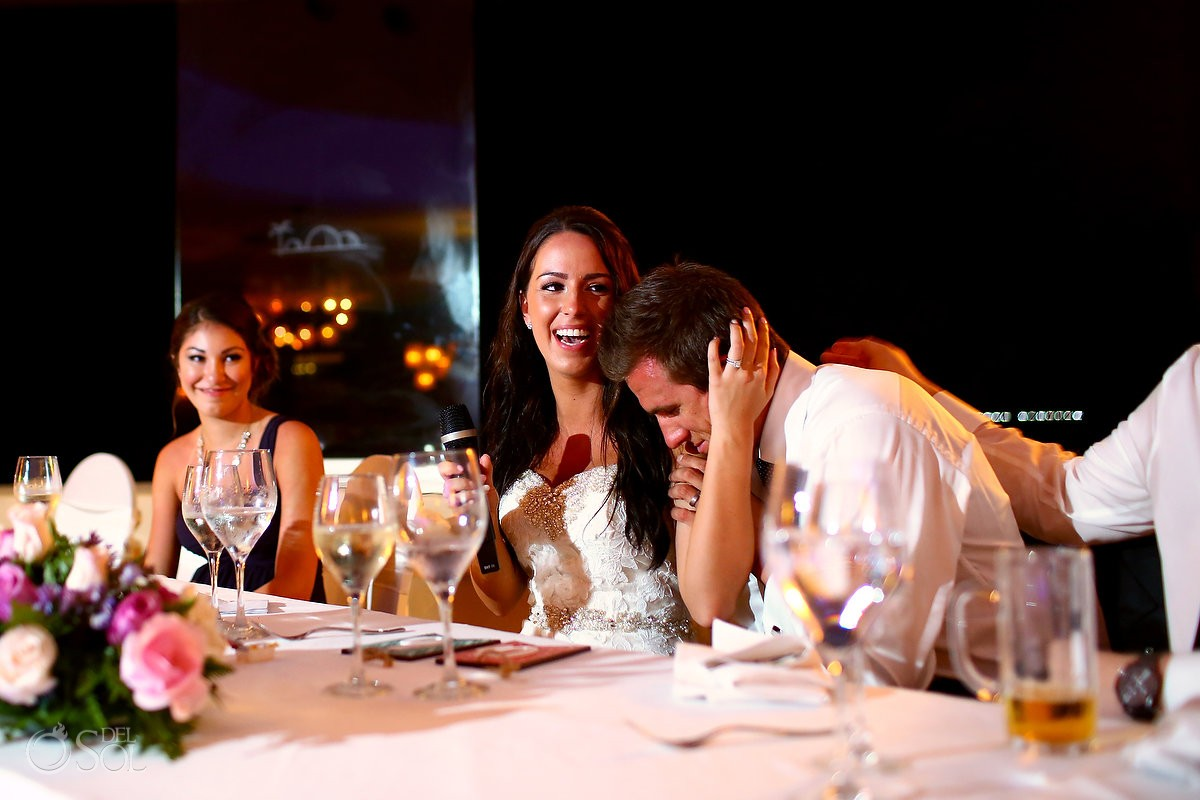 happy laughing bride Destination Wedding reception Barcelo Maya Palace Deluxe Goral Grill
