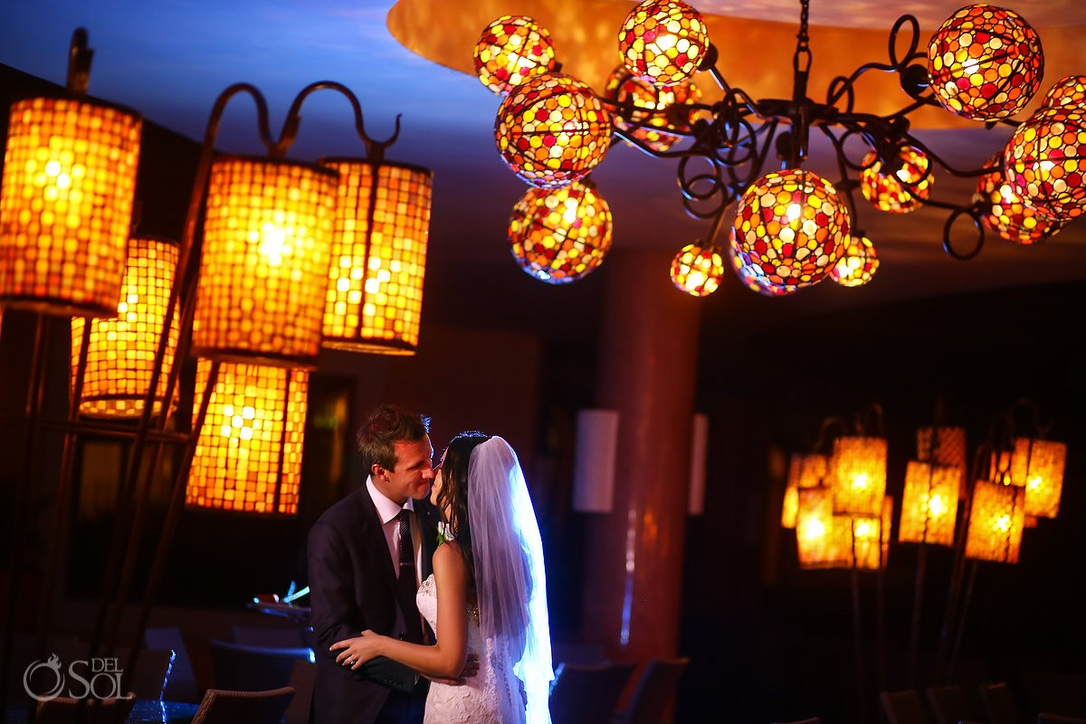 First dance portrait Destination Wedding reception Barcelo Maya Palace Deluxe Goral Grill