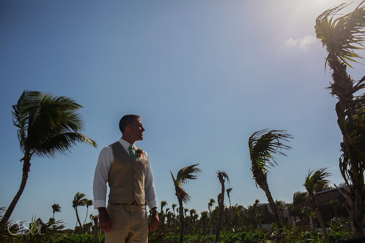 artistic groom portrait beach wedding Valentin Imperial Maya beach, Playa del Carmen