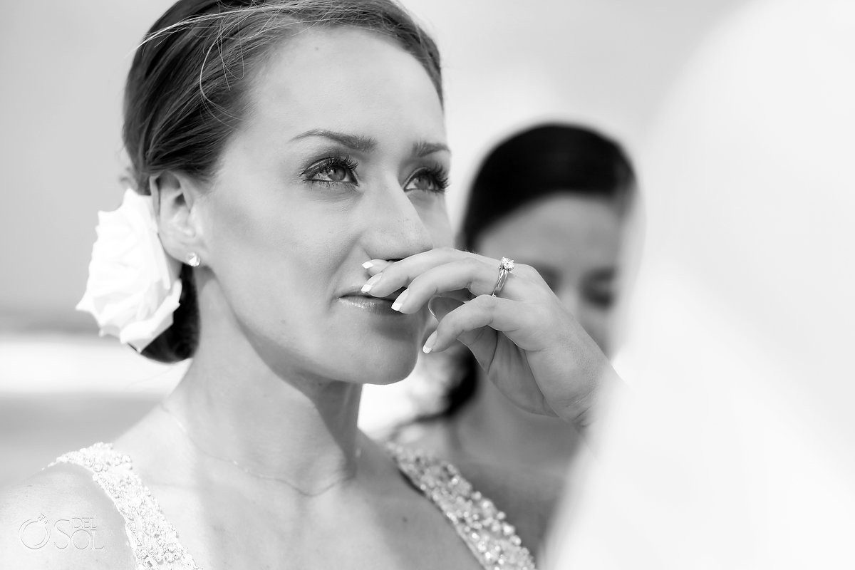 bride crying black white beach wedding Valentin Imperial Maya beach, Playa del Carmen