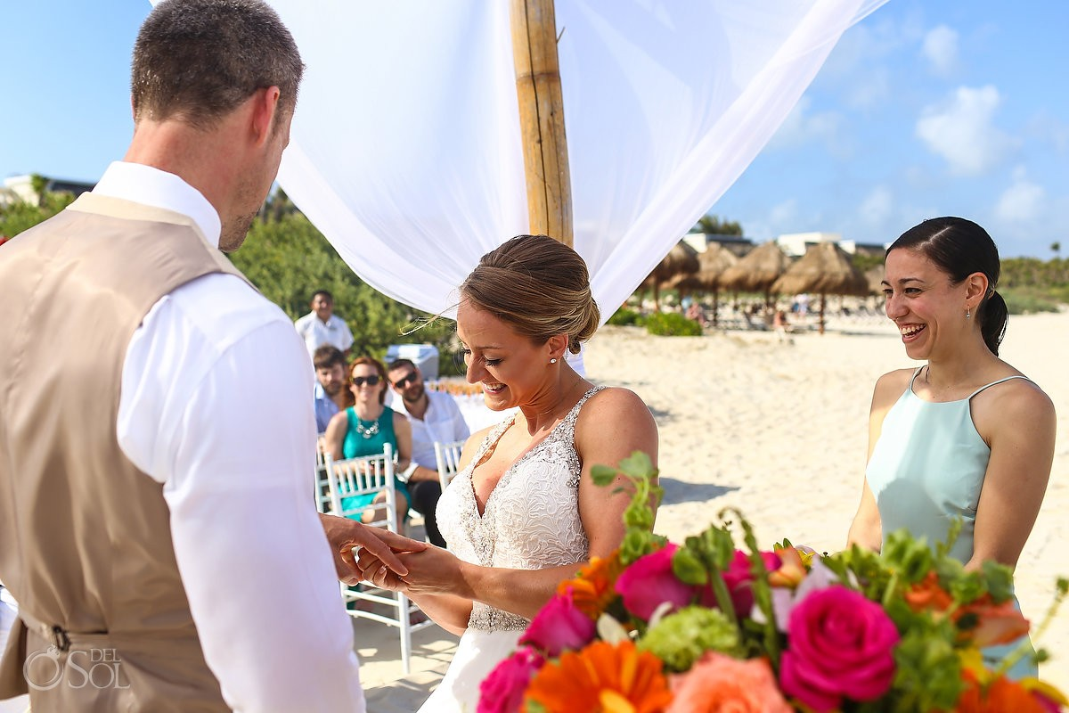 funny wedding photo ring exchange beach wedding Valentin Imperial Maya beach, Playa del Carmen