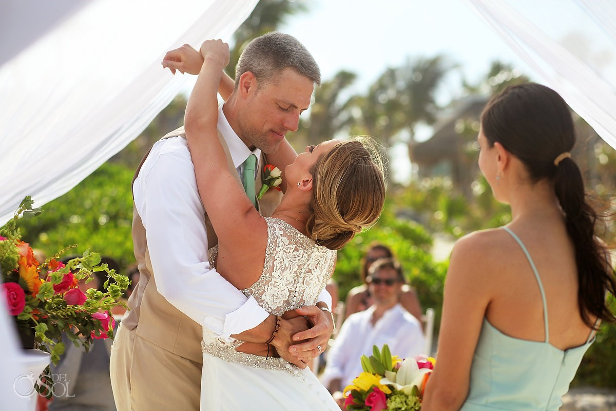 first kiss beach wedding Valentin Imperial Maya beach, Playa del Carmen
