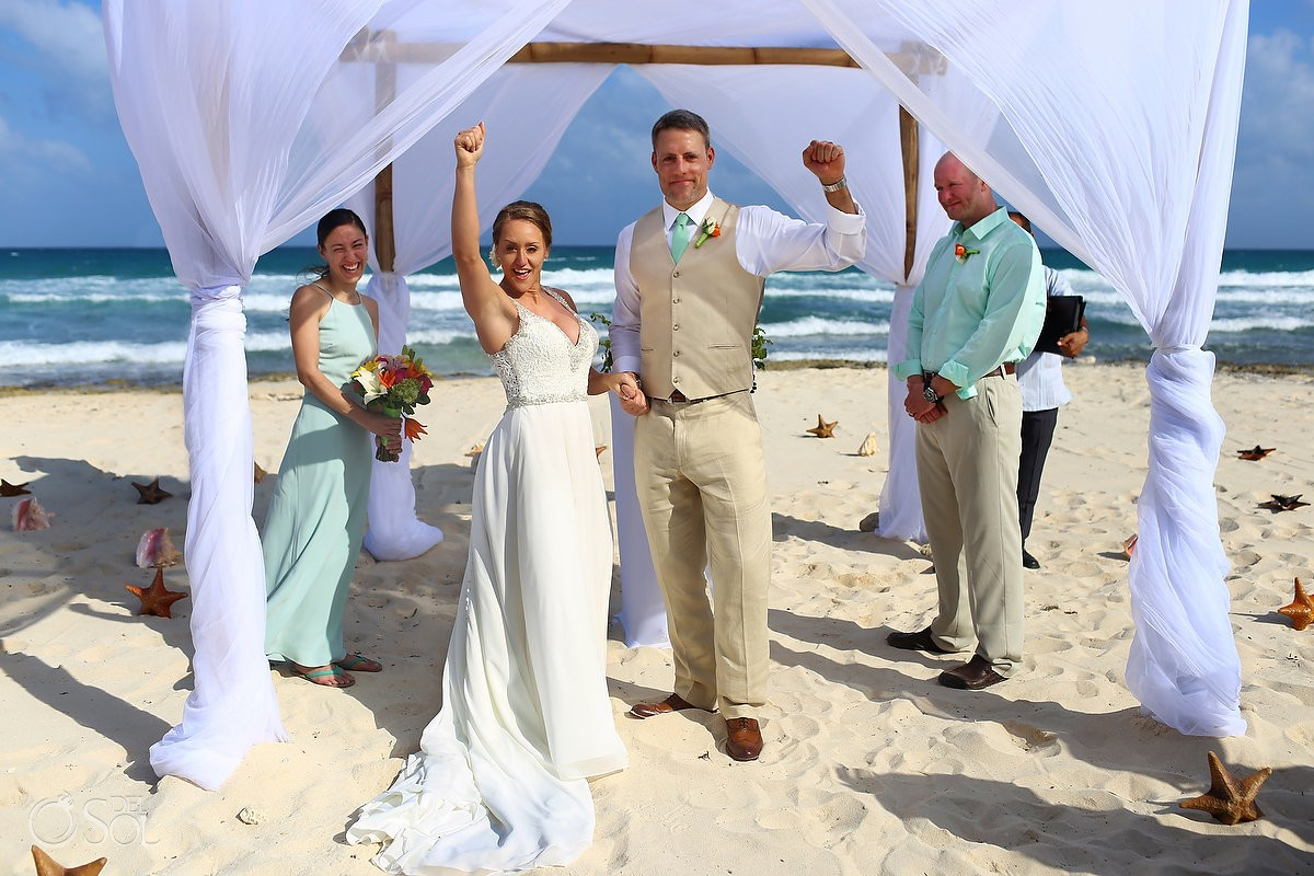 destination wedding beach ceremony celebration Valentin Imperial Maya beach, Playa del Carmen