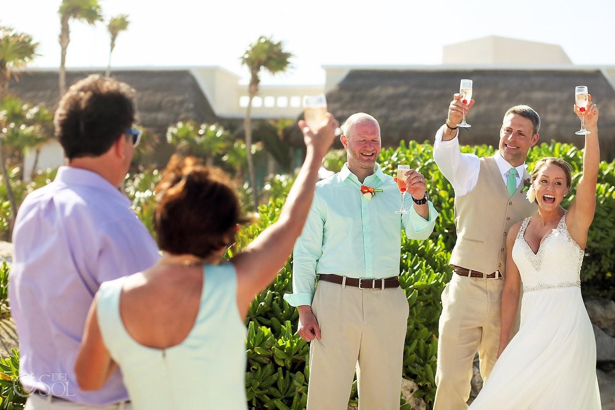 champagne cocktail toast, beach wedding Valentin Imperial Maya, Playa del Carmen