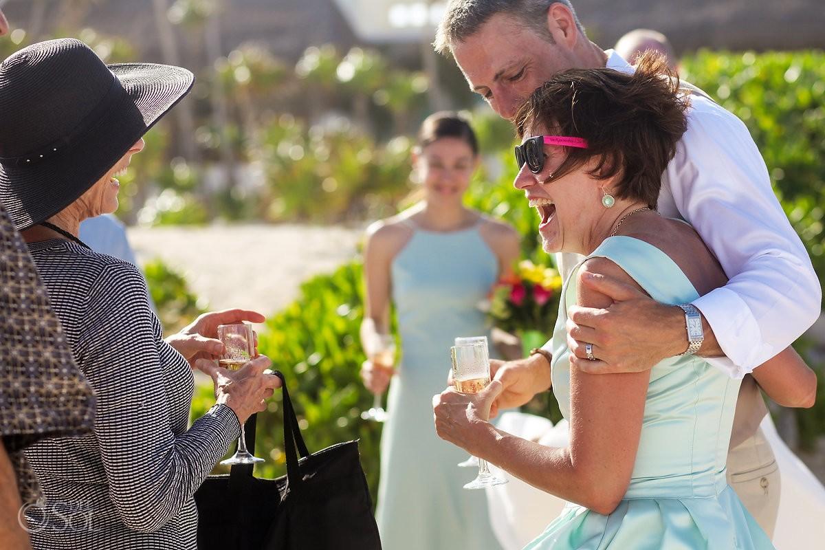 happy wedding guest beach wedding Valentin Imperial Maya beach, Playa del Carmen