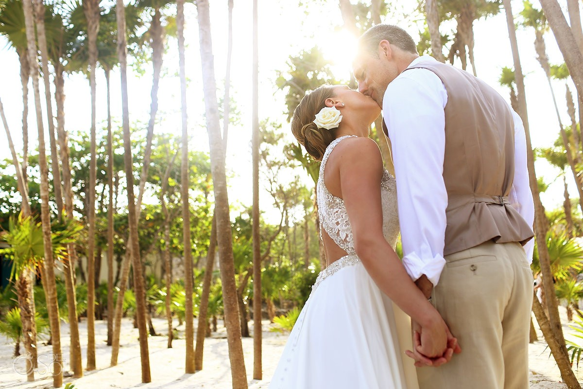 sunset wedding portrait palm trees Valentin Imperial Maya beach, Playa del Carmen